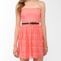 Strapless Eyelash Lace Dress | FOREVER21 - 2011645931