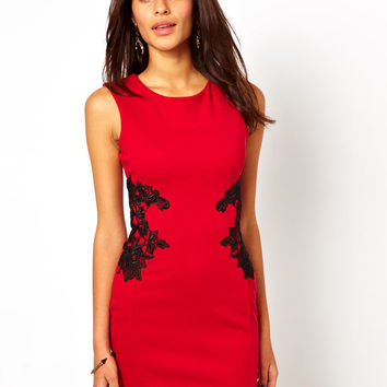 Lipsy Lace Applique Bodycon Dress