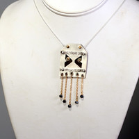Fringe Statement Necklace - Geometric / Tribal with Black Spinel