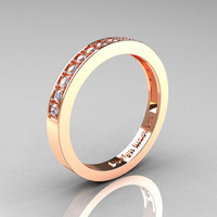 Classic 14K Rose Gold Preset Diamond Wedding Band R332-14KRGD