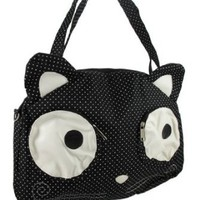 Big Eyed Cat Nylon Polka Dot Tote Bag