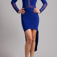 High low mesh inset party dress