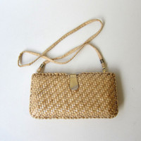 Vintage 1980s lacquered woven straw handbag or clutch