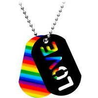 Handcrafted Rainbow Pride Love ID Dog Tag