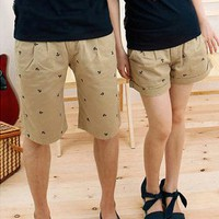Navy Style Anchor Print Shorts for Summer