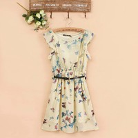 Butterfly Print Chiffon Dress