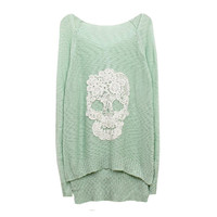 Mint Lace Batwing Knit With Skull Motif