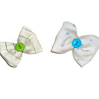 Set of Two Upcycled Cloth Blue Stars Green Stripes Hair Bow Clip