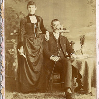Vintage Victorian Cabinet Card, black & white Photograph, Husband and wife late 1800's early 1900's Bayfield Ontario