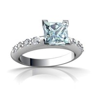 14K White Gold Square Genuine Aquamarine Engagement Ring Size 6
