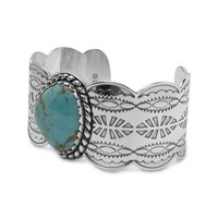 Sterling Silver Kingman Blue-Green Turquoise Cuff Bracelet