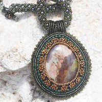 Embroidered Pendant Woven Necklace Glass Bead Green Bronze Brown