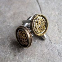 "Mechanical Cufflinks ""Model Twenty-Nine"" Mancessories Soldered Clockwork Watch Gear Cuff Links Silver Tone Industrial OOAK A Mechanical Mind"
