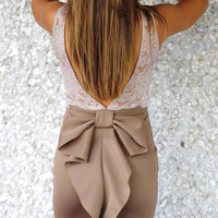 Better With Bows Dress: Mocha Lace | Hope's