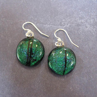 Dichroic Green Earrings, Dichroic Dangle Earrings, Earing Jewelry - Holly - 1821 -3