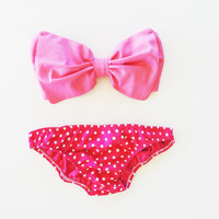 Etsy Transaction -          Vintage Bow Bandeau Sunsuit Bikini .DiVa Halter Neck. Bubblegum pink Bow  top pink polka dot Panties.Sexy and cute Pin up Style