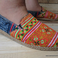 Mens Vegan Loafer Shoe in Ethnic Hmong by SiameseDreamDesign