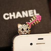 1PC Bling Crystal Cute Kitty Cat w/Fish Bone Charms Earphone Jack Anti Dust Plug for iPhone 5 & 4, Samsung S4,S3, Nokia, HTC