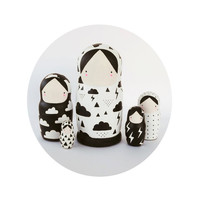 Black and White Nesting Dolls Matroyshka - Weather Girls
