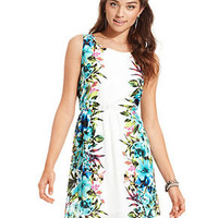 WishesWishesWishes Juniors Dress, Sleeveless Floral-Print A-Line - Juniors Graduation Dresses - Macy's
