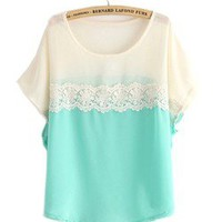 Gradient hollow lace stitching loose women chiffon shirt with short sleeves
