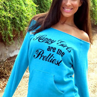 Happy Girls are the Prettiest Off the Shoulder Girly Sweatshirt. Size LARGE