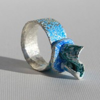 XL ring blue enamel silver | perhapsturquoise - Jewelry on ArtFire