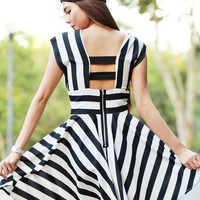 LOVE Black and White Stripe Skater Dress With Elastic