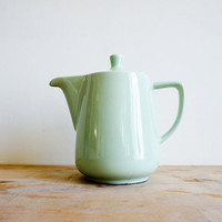Vintage French Coffee Pot // 1950's Ceramic // Pastel Mint Seafoam Green // french country // farmhouse // spring colours