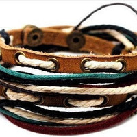 Mens Womens Leather Bracelet Wristband cuff by braceletcool