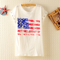 Hollow Out USA Flag T-shirt With Star Rivets