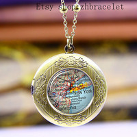 Necklace,Photo Locket necklace, USA New York Maps  Locket  Necklace ,Vintage necklace,