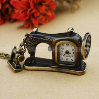 Antique Sartorius Pocket  Watch Necklace VintageSewing Machine Necklace by luckyvicky