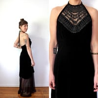 Black Velvet Crochet Lace Halter Maxi Dress