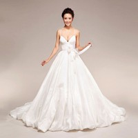 Sammy Dress - lace up back plunging bow adorned bridal wedding dress | sugarweddings - Wedding on ArtFire