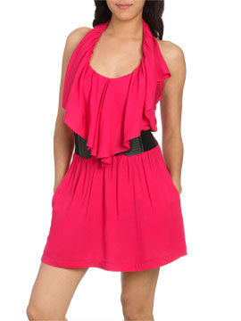 Belted Ruffle Halter Dress - Women&#x27;s Clothing and Apparel - Chic Dresses, Fashion Tops, Shoes, Bottoms, Denim and Accessories