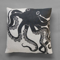 Black Octopus Pillow Linen Dermond Peterson Sea