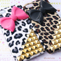 Gold Studded Leopard Cheetah Print with Large Bow Bowtie Iphone 5 Cell Phone Case