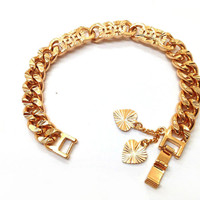 "WOMANS MEDIUM CURB ASIAN GOLD TONE BRACELET & HEART LEAF DANGLES 7""IN *FREE GIFT"