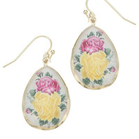 Printed Floral Facetted Short Drop Earrings | Multi | Accessorize