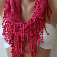 NEW- Mothers Day Gift  hot pink  - Lace Shawl/ Scarf - Headband with Lace Edge