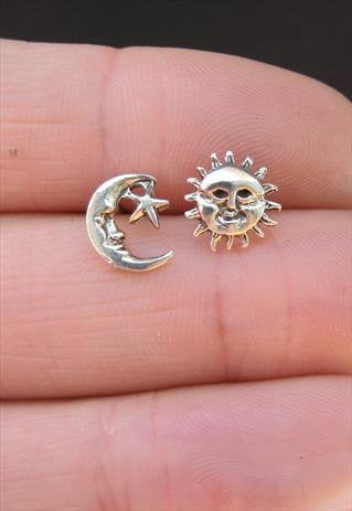 silver sun and moon stud earrings from from asos marketplace