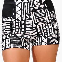 NWT BLACK WHITE TRIBAL PRINT SHORTS hotpants HIGH WAIST elastic waist aztec boho
