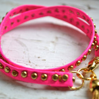 studded pink neon genuine leather & gold double wrap by sewsephine