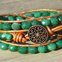 Rustic Bling Emerald Green Aventurine 3 Wrap Leather Bracelet | GemOnAWire - Jewelry on ArtFire