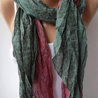 Scarf - Cotton -Elegant Scarf Cotton Scarf - green/burgundy