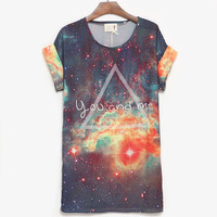 You And Me Galaxy Loose Batwing T-shirt For Women