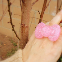 Pink Glitter Hello Kitty Bow Ring by Windsday on Etsy
