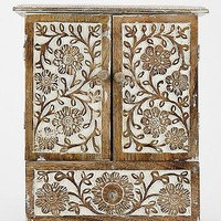 Carved Wood Jewelry Cabinet