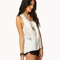 Studded Lace Paneled Tank | FOREVER 21 - 2040983121